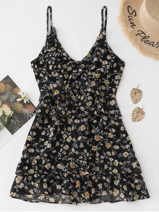 chic Floral Ruffles Cami Mini Dress - BLACK L