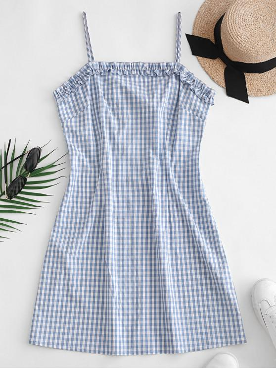 women's ZAFUL Ruffles Plaid Cami Mini Dress - DENIM BLUE M