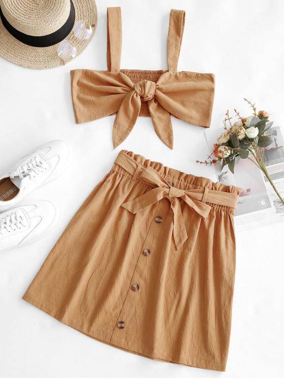women ZAFUL Tie Front Top And Buttoned Paperbag Skirt Set - SANDY BROWN L