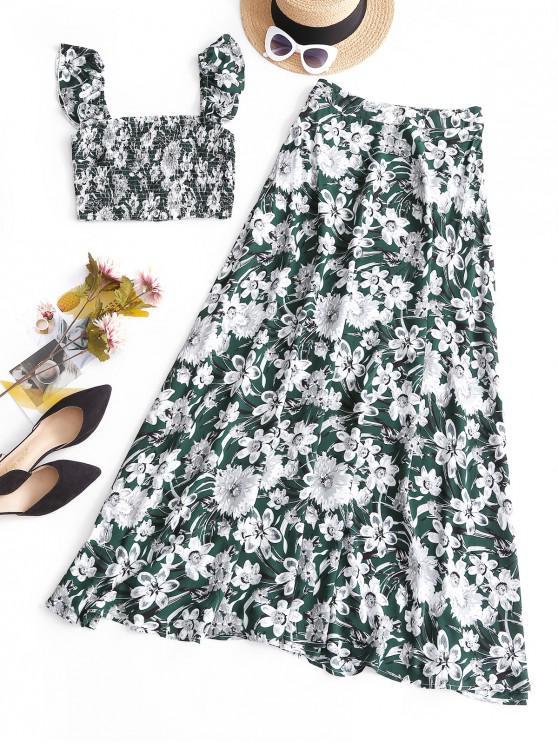 latest ZAFUL Floral Off Shoulder Smocked Top And Skirt Set - DEEP GREEN M