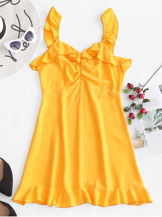 shop ZAFUL Gathered Ruffles Sleeveless Mini Dress - BEE YELLOW S