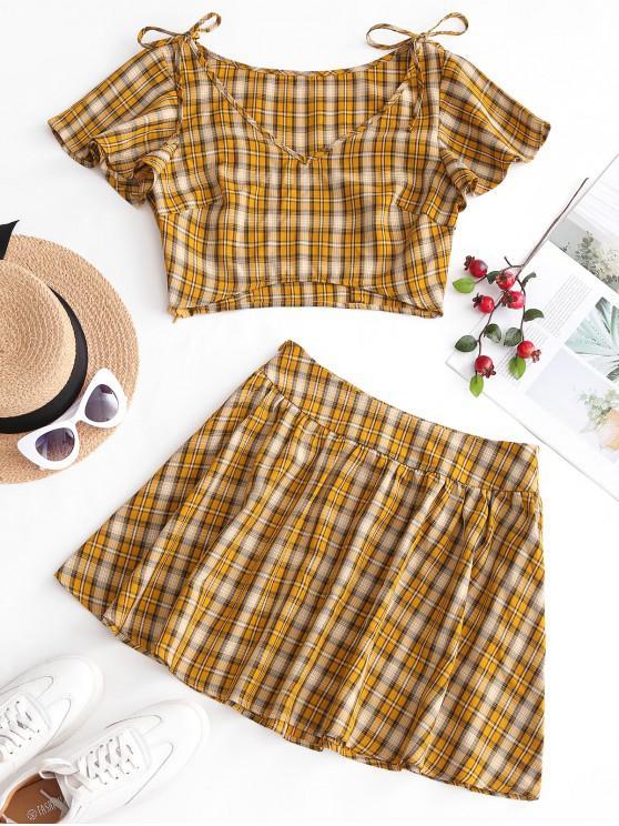 hot ZAFUL Plaid Butterfly Sleeve Skirt Set - GOLDENROD M