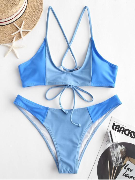 ladies ZAFUL Color Block Crisscross Bralette Bikini Swimsuit - BLUE KOI L
