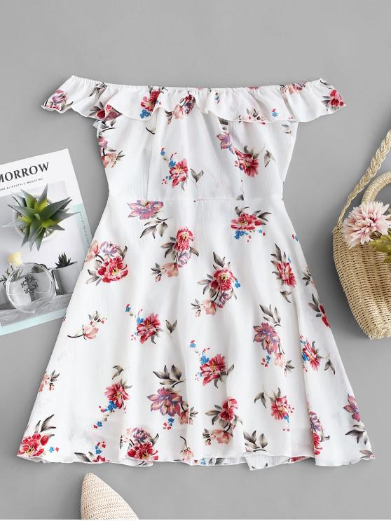 womens Floral Tie Front Off Shoulder Dress - WHITE S