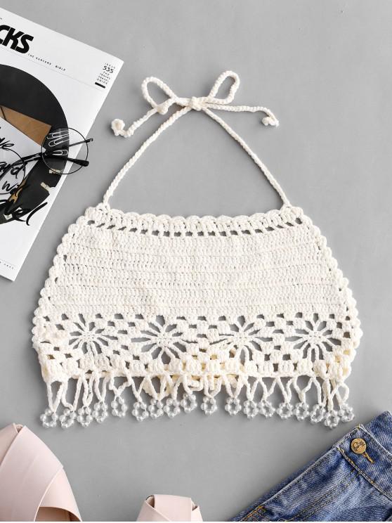 fancy Halter Crochet Beaded Beach Top - WHITE ONE SIZE
