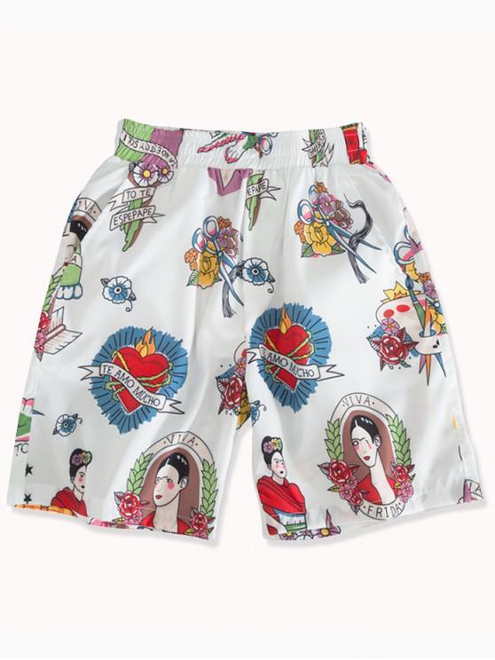 3ef4342c91e41 26% OFF] 2019 Floral Women Graphic Print Board Shorts In WHITE | ZAFUL