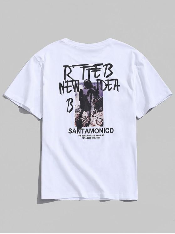 Lettre graphique peinture imprimer t-shirt décontracté - Blanc L
