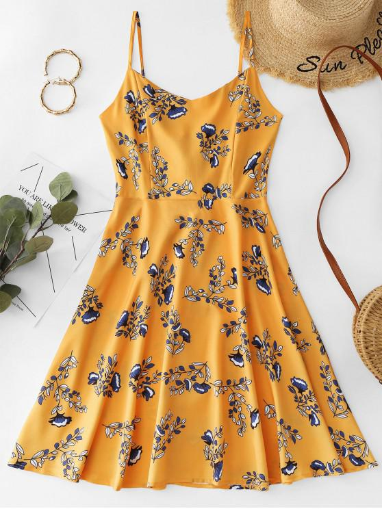 womens Cami Floral Lace Up Mini Dress - YELLOW XL