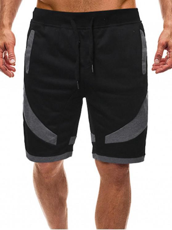 women Color Block Splicing Drawstring Casual Shorts - BLACK S