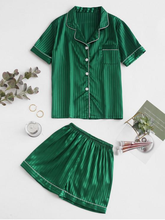 hot Shadow Striped Buttoned Satin Pajama Suit - MEDIUM SEA GREEN M