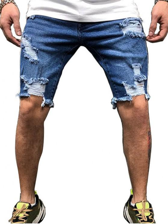bf13cdbc63 27% OFF] 2019 Destroy Wash Panel Hip-hop Jean Shorts In LAPIS BLUE ...
