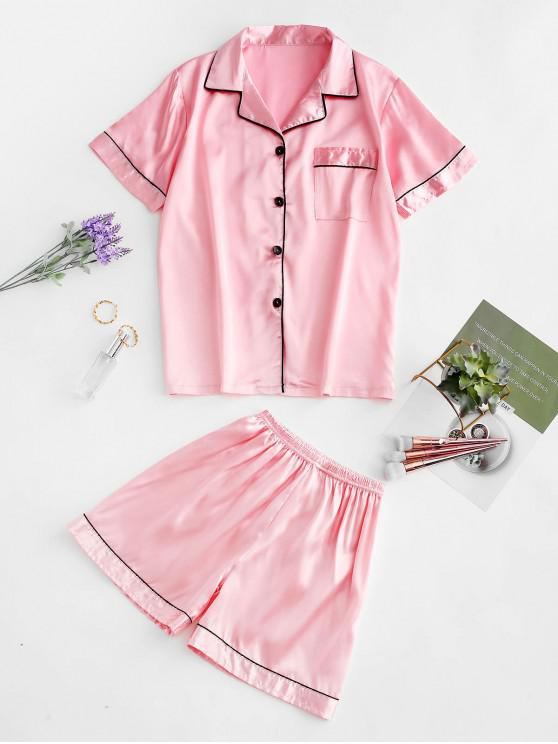 lady Button Up Piping Satin Pajama Suit - PIG PINK M