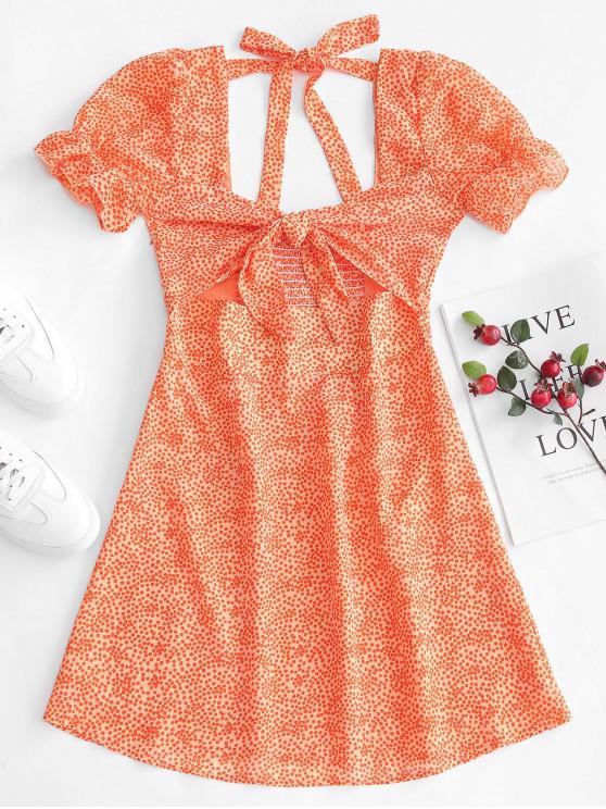 shop ZAFUL Square Print Smocked Tie Front Dress - ORANGE S