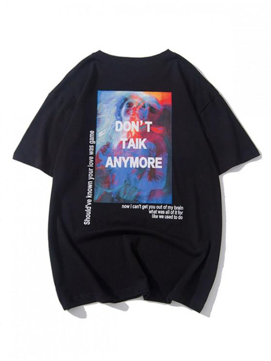 hot Painting Graphic Letter Print Short Sleeves T-shirt - BLACK M
