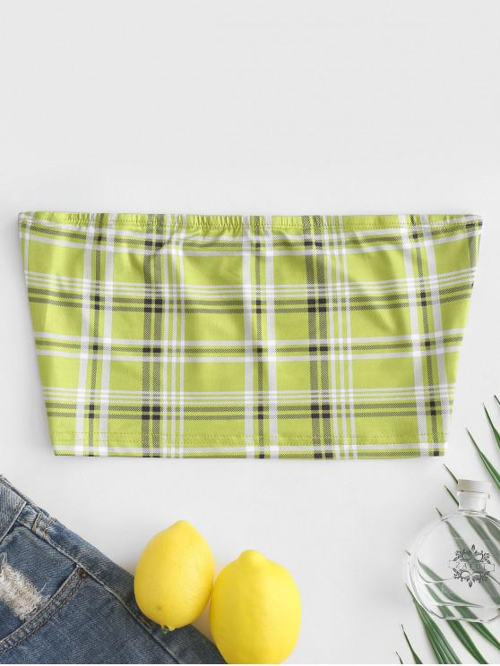 chic Plaid Fitted Bandeau Top - SALAD GREEN L