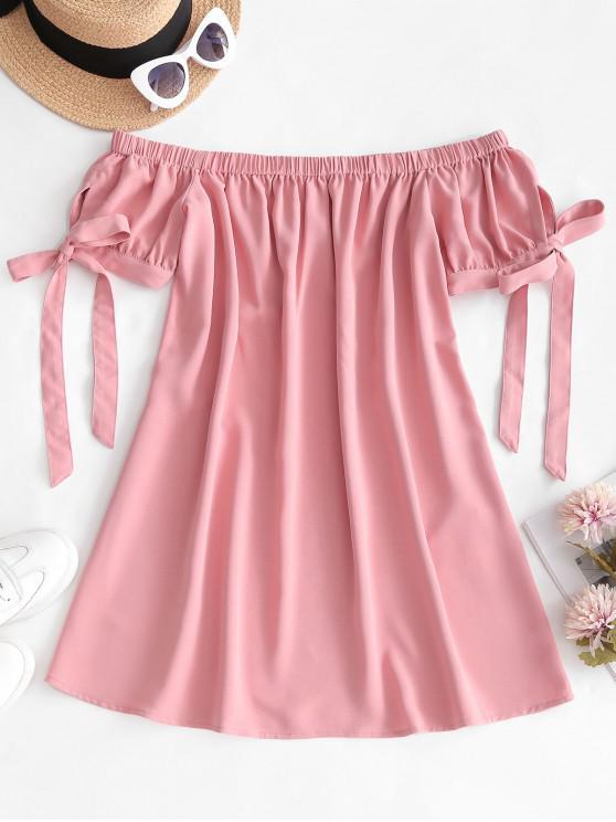ZAFUL Mini Robe à Epaule Dénudée en Couleur Unie - Rose  S