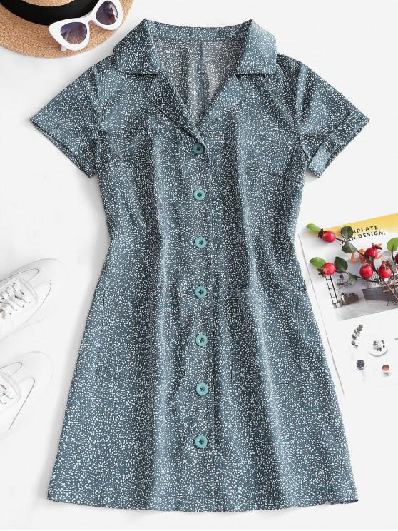womens ZAFUL Pockets Floral Button Up Mini Dress - MEDIUM AQUAMARINE L