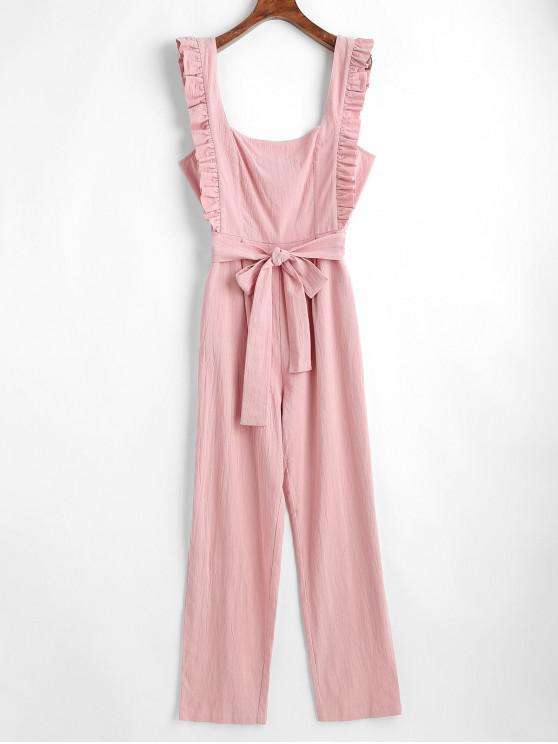 online ZAFUL Square Neck Ruffles Belted Jumpsuit - PINK L