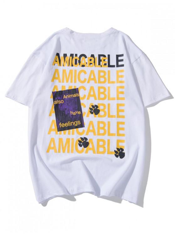 T-shirt graphique avec empreinte animale et lettres - Blanc 2XL