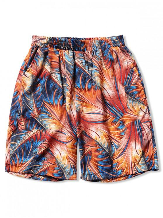 sale Colorful Leaf Painting Hawaii Board Shorts - MULTI-V M