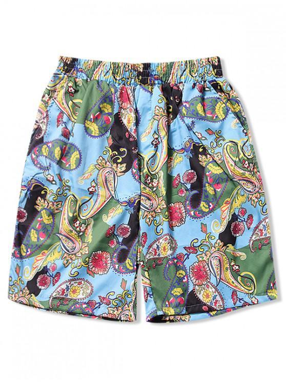 affordable Flower Paisley Print Board Shorts - MULTI-F M