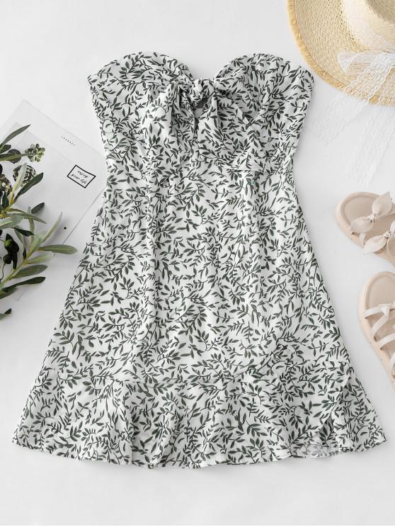 womens Tie Front Leaves Print Tube Dress - MULTI L