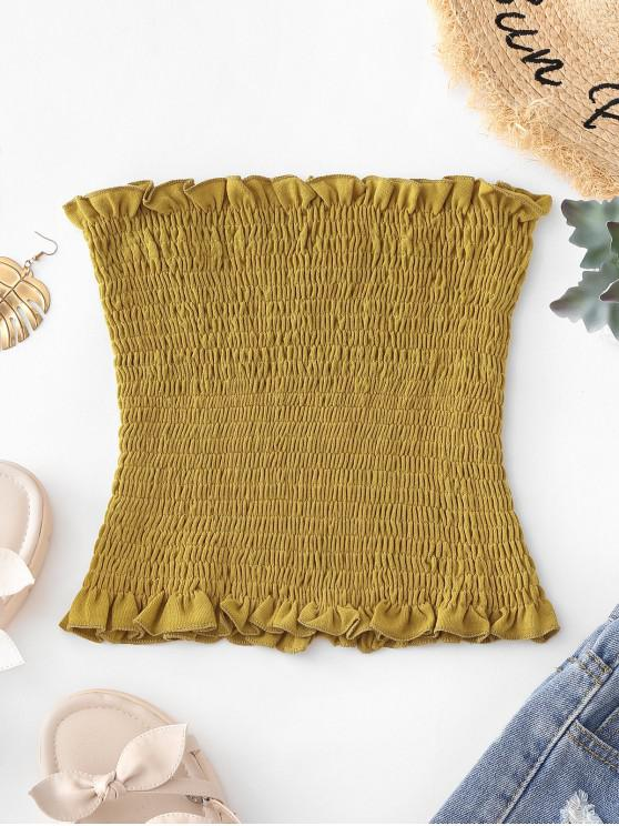 affordable Lettuce Trim Smocked Bandeau Top - YELLOW ONE SIZE