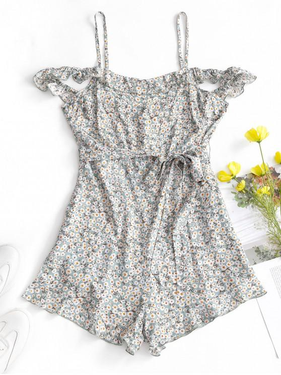 hot ZAFUL Floral Cold Shoulder Belted Romper - CYAN OPAQUE S