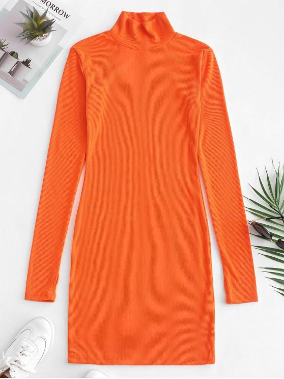 trendy Ribbed Mock Neck Bodycon Mini Dress - DARK ORANGE S