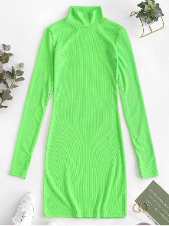 Minivestido acanalado con cuello mao y mini vestido - Verde L
