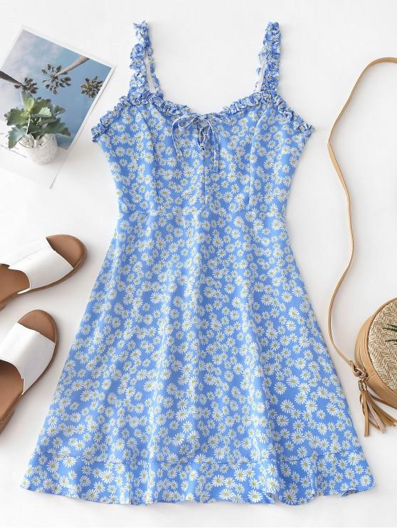 shop Smocked Lace Up Floral Mini Dress - BLUE M