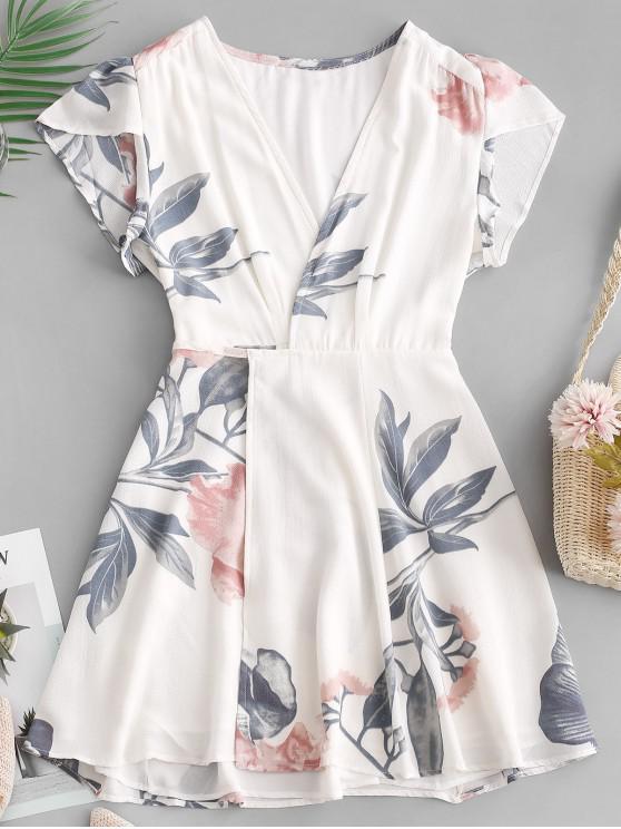 chic V Neck Floral Wrap Mini Dress - WHITE L