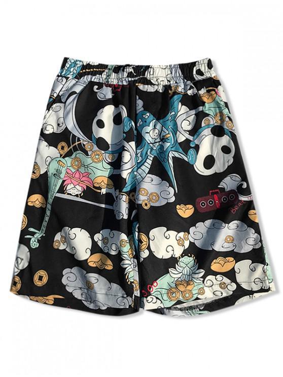best Listening Music Panda Floral Print Board Shorts - MULTI-A M