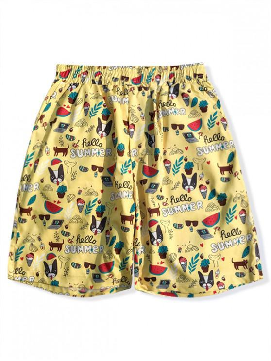 Shorts de verano con estampado gráfico de Hawaii Elements - Amarillo XS