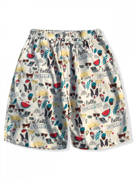 Shorts de verano con estampado gráfico de Hawaii Elements - Blanco XS