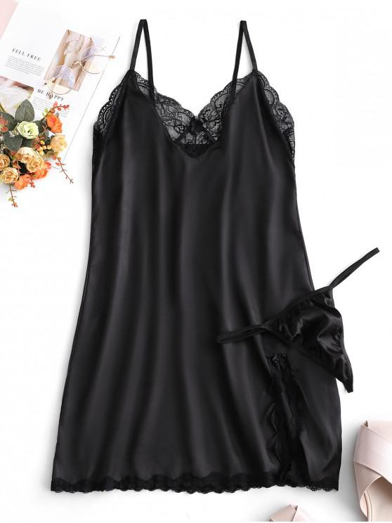 online Lace Insert Satin Slit Bowknot Lingerie Dress - BLACK L