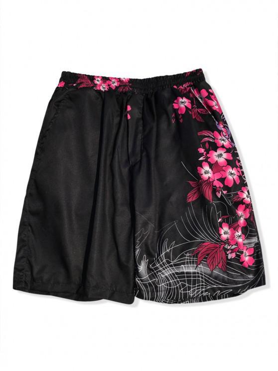 fashion Koi Flower Plant Print Hawaii Board Shorts - BLACK M