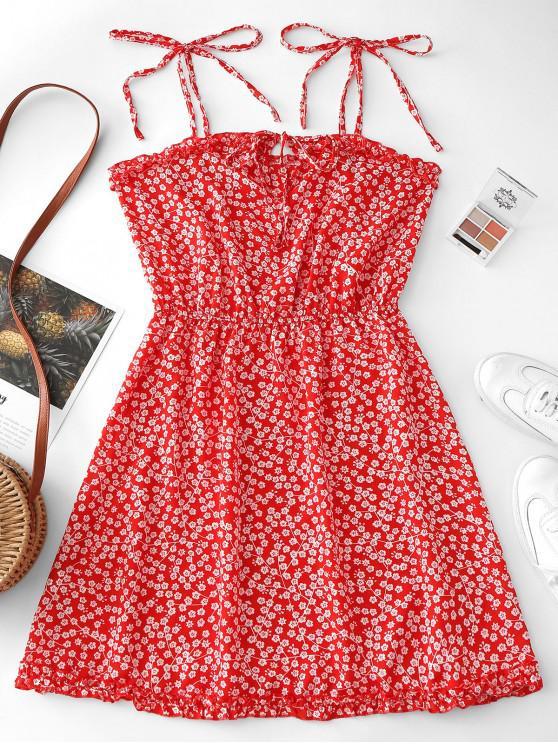 Mini-Robe Fleurie à Bretelle Nouée - Rouge M