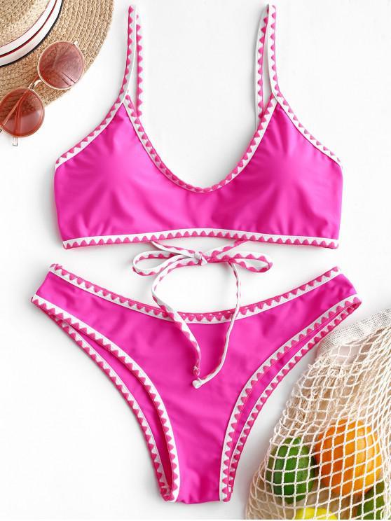 womens ZAFUL Contrast Trim Crochet Bikini Set - ROSE RED XL