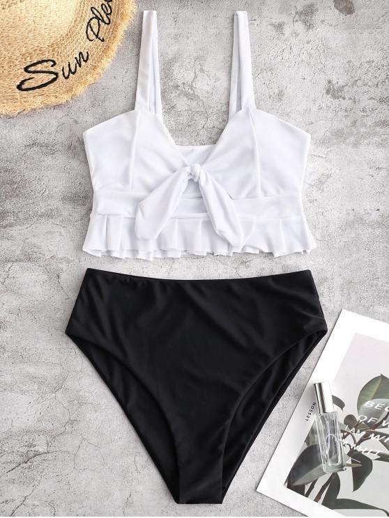 trendy ZAFUL Knot Ruffle Tankini Set - BLACK S
