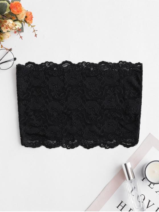 sale Sheer Back Lace Bandeau Top - BLACK L