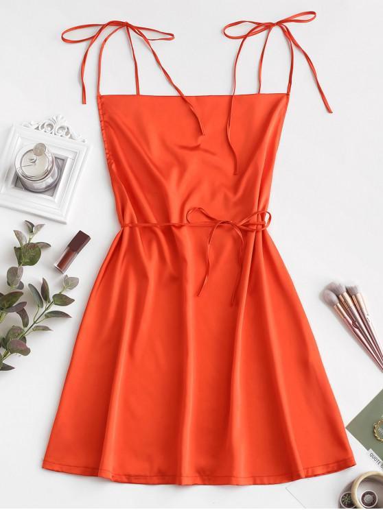 Mini Robe à Bretelle Nouée en Satin - Orange Citrouille M