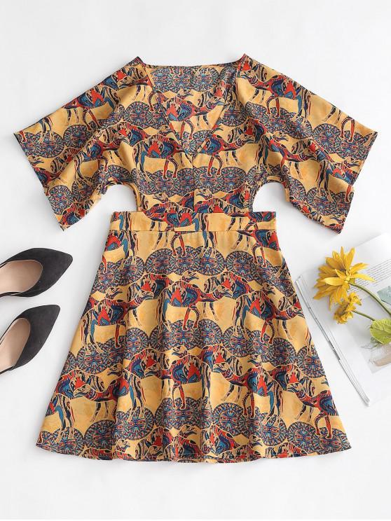 hot ZAFUL Cut Out Printed Mini Bohemian Dress - MULTI-A M