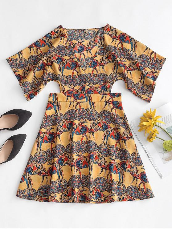 buy ZAFUL Cut Out Printed Mini Bohemian Dress - MULTI-A S