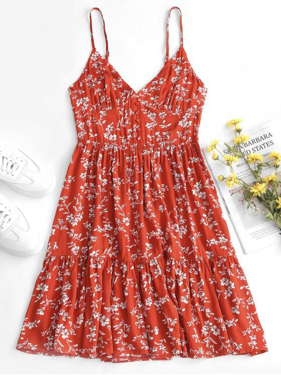 lady ZAFUL Buttons Floral Print A Line Cami Dress - MULTI M