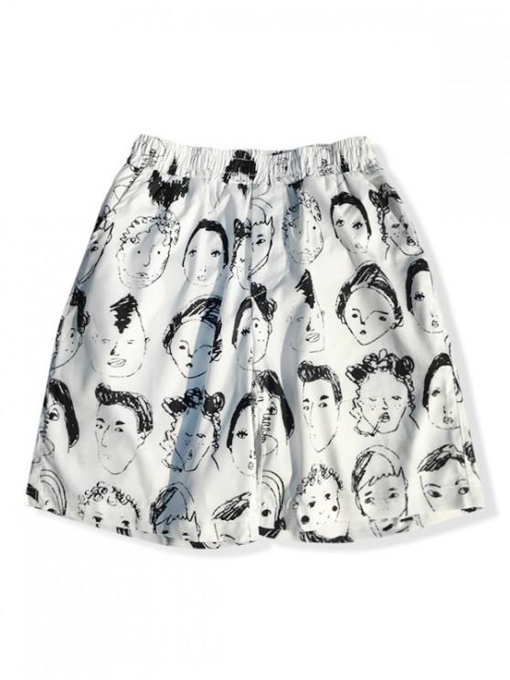 shop Abstract Portrait Drawing Print Board Shorts - WHITE M