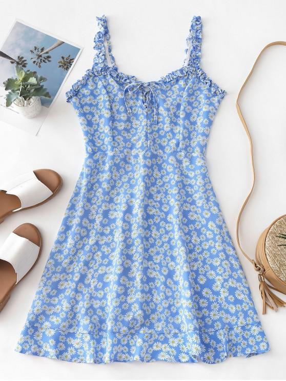 Mini abito floreale con pizzo smocked - Blu M