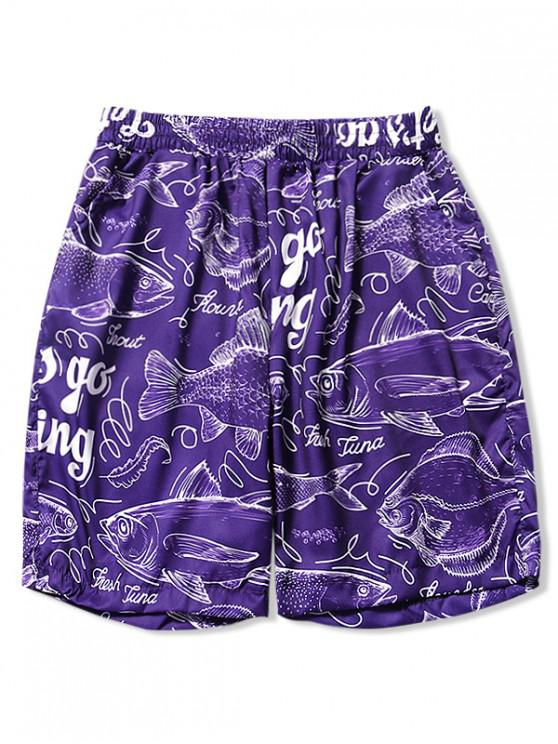 Lettera Pesce Disegno Stampa Hawaii Beach Shorts - Porpora Vivace XS