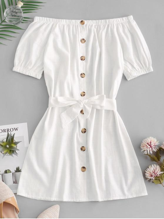 affordable Button Up Off Shoulder Mini Dress - WHITE XL