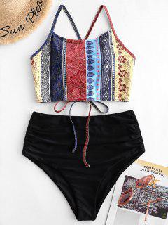 ZAFUL Flower Paisley Lace Up Tummy Control Tankini Swimsuit - Multi-a M